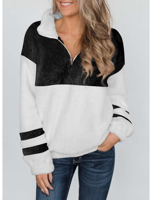 MEROKEETY Womens Long Sleeve Contrast Color Zipper Sherpa Pile Pullover Tops Fleece with Pocket