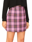 Floerns Womens Plaid High Waist Bodycon Mini Skirt