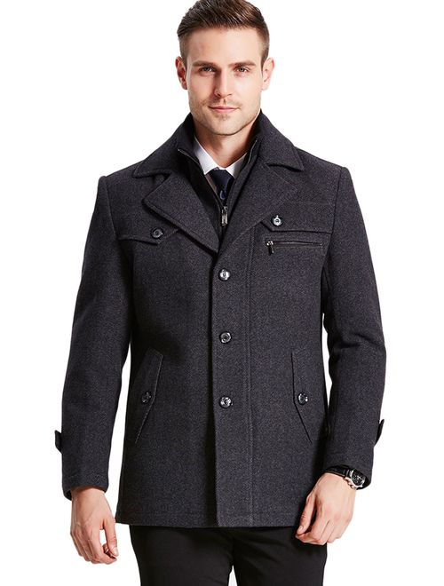 Chouyatou Mens Stand Collar Wool-Blend Classic Pea Coat with Removable Inner Collar