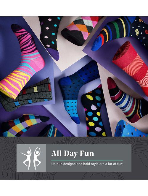 Marino Men's Dress Socks - Colorful Funky Socks for Men - Cotton Fashion Patterned Socks - 12 Pack