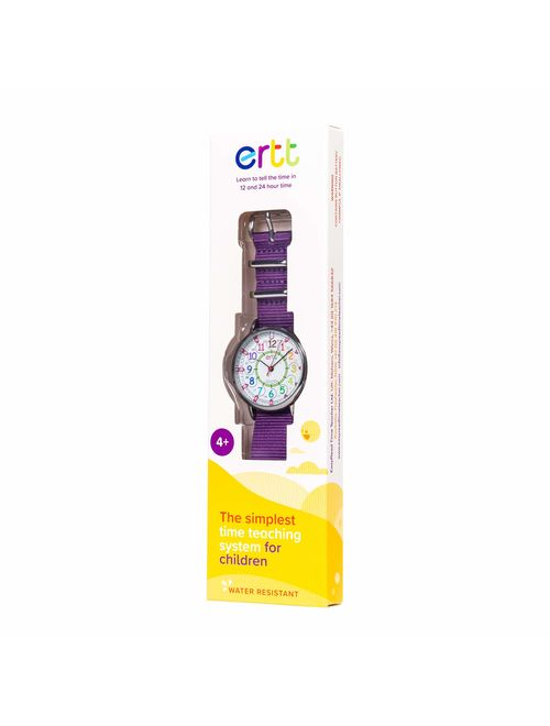 EasyRead Time Teacher Children's Watch, Rainbow 12/24 Hour Face, Purple Strap