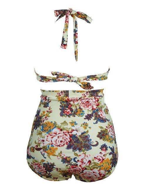 COCOSHIP Retro 50s style swimsuit Black Pink Blue Floral Halter High Waist Bikini Set Halter Carnival Swimsuit(FBA)