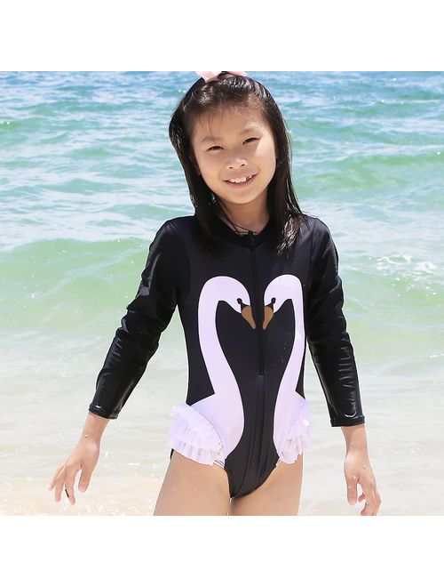 TFJH E Kids Girls Rashguard Swimsuit UV 50 Long Sleeve One Piece Swimwear Zip