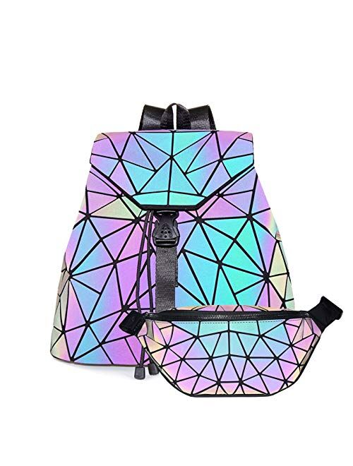HotOne Fashion Backpack for Women Luminous Geometric Backpack Mesh Backpack Collection
