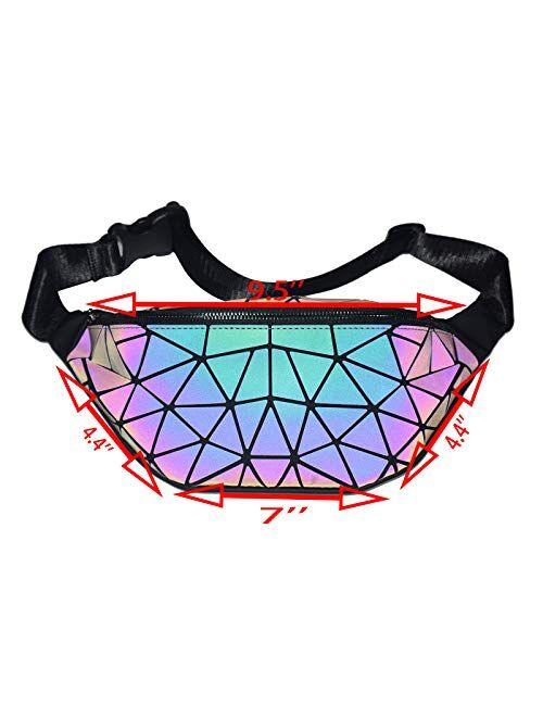 HotOne Color Change Geometric Purse and Handbags Luminous Backpack for Women