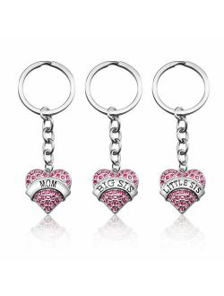 Mom Birthday Gift from Daughter - 3PCS Stainless Steel Mother Big Sis Little Sis Keychain Gifts Set for Mother's Day