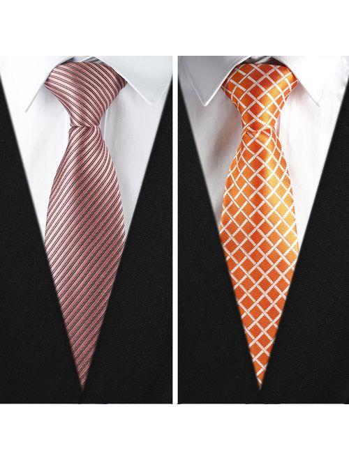 New Men/'s Vesuvio Napoli plaid checkered Neck Tie Necktie /& Hankie set Burgundy