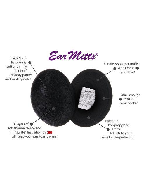 Ear Mitts Bandless Ear Muffs For Men & Women, Soft Winter Ear Warmers, 2 Sizes