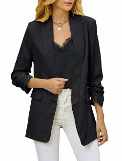 Nulibenna Womens 3/4 Ruched Sleeve Blazer Jacket Lightweight Work Office Open Front Soild Coat