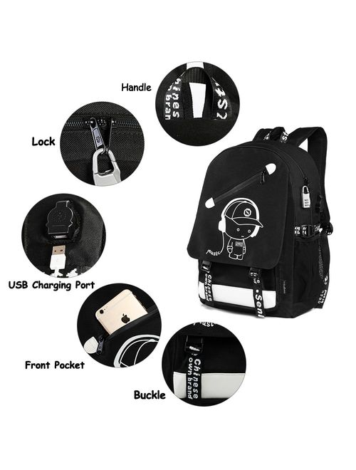 "Unisex School Backpack 15.6"" Laptop Backpack Charging Port Anti-theft Rucksack"