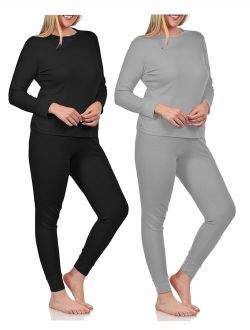 BASICO Women's 2pc Long John Thermal Underwear Set 100% Cotton