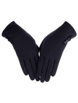 Women's Button Touch Screen Glove Lined Thick Warmer Winter Gloves