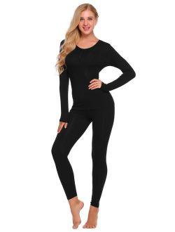 Womens Thermal Underwear Set Henley Base Layer Stretch Top & Bottom