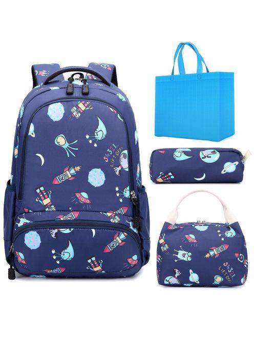 Girls Backpack 3 in 1 Sets Unicorn School Backpack for Girls Elementary Bookbags