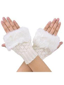 Simplicity Women's Winter Faux Fur Knit Fingerless Hand Warmer Mitten Gloves
