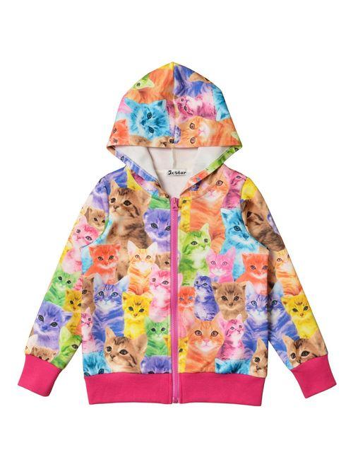 Girls Zip Up Hoodie Jacket Unicorn/Cat Sweatshirt with Pockets