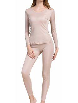 Fashion Silk Women's Silk Long Underwear   Silk Thermal Underwear Sets for Women Mulberry Silk Long Johns