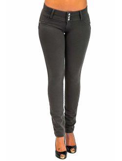 Fashion2Love Premium Stretch Cotton,Butt lift,Levanta Cola,Skinny Leg Fashion Pants