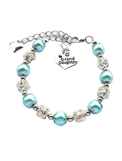 DOLON Gift for Granddaughter Bracelet Jewelry with Rhinestone Balls Faux Pearl