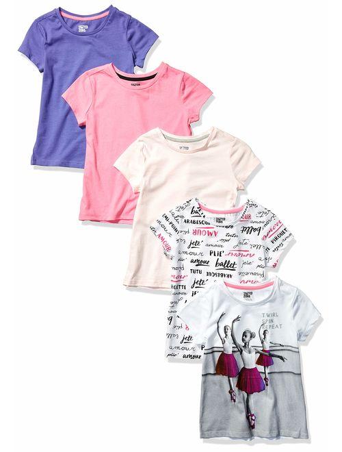 Amazon Brand - Spotted Zebra Girl's Toddler & Kids 5-Pack Short-Sleeve T-Shirts