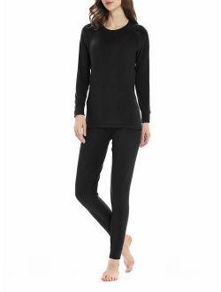 Genuwin Women's Thermal Underwear Set Midweight Fleece Lined Long Johns Set Base Layer Set S~XL