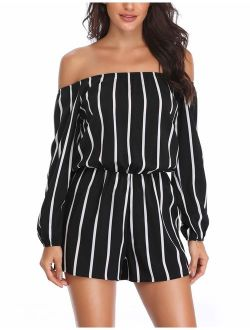 MISS MOLY Women 's Off Shoulder Rompers Strapless Boat Neck 3/4 Sleeve Casual Striped Jumpsuits with Belt