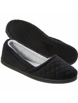 Dearfoams Womens Microfiber Velour Espadrille Slippers- Black