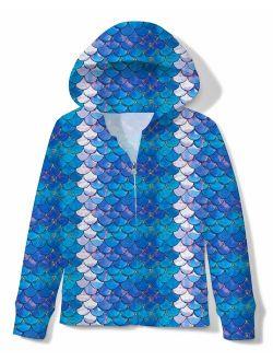 Funnycokid Girls Zip Up Hoodie Jacket Sweatshirt with Pocket 4-14 Years