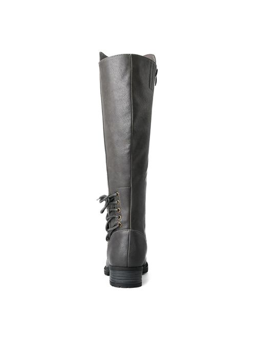 GLOBALWIN Womens Lace Up Back Knee High Fashion Boots