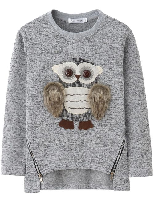 Sweatshirts for Girls Kids Hoodies Hooded Pullover Fuzzy Cute Owl