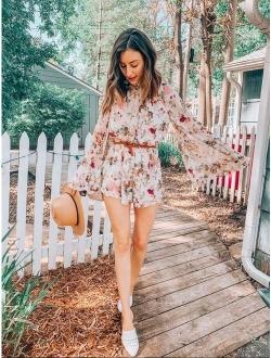 Women's Floral Printed Bell Sleeve Loose Fit Jumpsuit Rompers