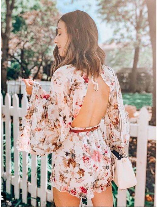 ROMWE Women's Floral Printed Bell Sleeve Loose Fit Jumpsuit Rompers