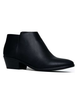 J. Adams Lexy Ankle Boot - Low Stacked Heel Closed Toe Casual Western Bootie