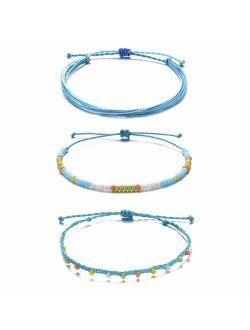 Tarsus Waterproof Adjustable Boho Ankle Bracelets Set Braided String Hawaii Anklets Jewelry Gifts for Women Teen Girls