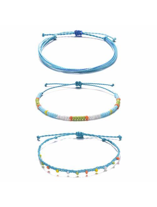 3Pcs Waterproof Adjustable Boho Anklets Set Hawaii Charm Ankle Bracelets Handmade Braided String Bracelets Multilayer Beach Foot Jewelry for Women Girls Teens