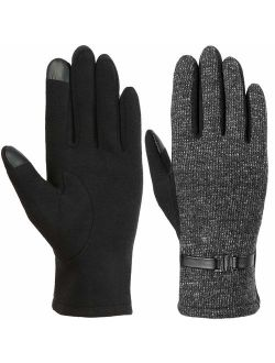Iger Women Winter Gloves Warm Touch Screen Gloves Chamois Leather Driving Gloves Fleece Thermal Gloves For Ladies