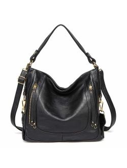 Kasqo Women Hobo Bag, Faux Leather Handbag Shoulder Bag with Detachable Strap