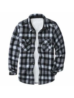 MADHERO Men's Winter Plaid Sherpa Lined Flannel Shirt Jacket