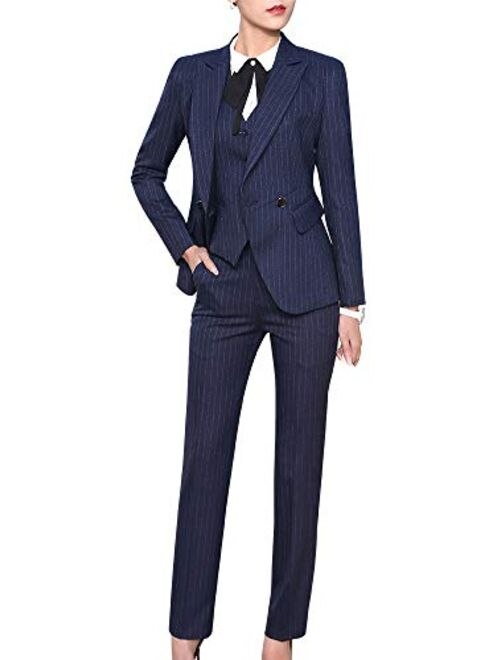 LISUEYNE Women's Three Pieces Office Lady Blazer Business Suit Set Women Suits for Work Skirt/Pant,Vest and Jacket