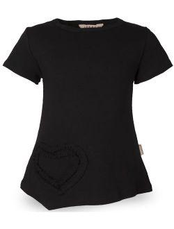 Ipuang Girls Heart Shaped Casual Cotton Cap Sleeve Tee T Shirt Top