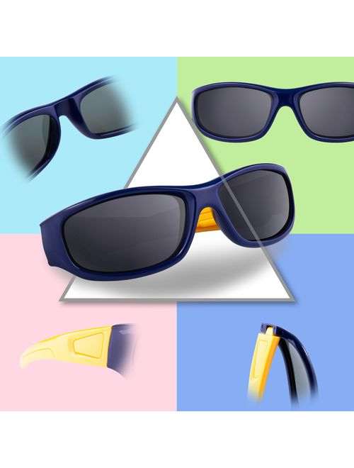 RIVBOS Rubber Kids Polarized Sunglasses With Strap Glasses Shades for Boys Girls Baby and Children Age 3-10 RBK037