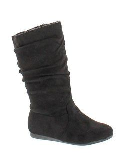 Link Selena-23K Girl's Mid-Calf Solid Color Flat Heel Slouch Boots