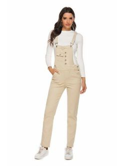 AvaCostume Womens Classic Adjustable Strap Jean Overalls Yellow