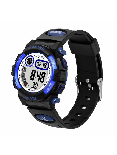 AZLAND Updated Version Added Three Alarms - Multifunctional Waterproof Boys Girls Watch