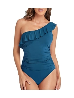Women's One Piece Swimsuits One Shoulder Swimwear Asymmetric Ruffle Monokinis Bathing Suits