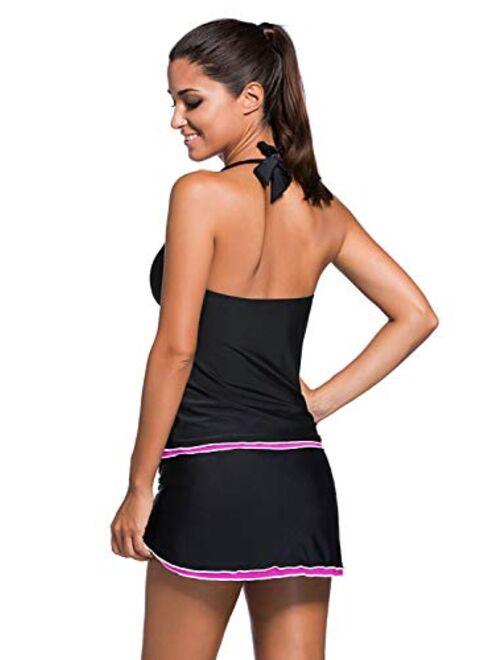 REKITA Womens Swimsuit Halter Tankini Top and Skort Bottom Set Bathing Suits