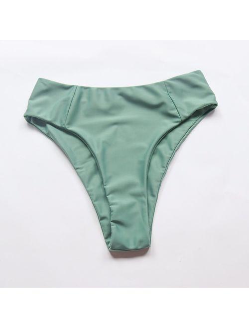 OMKAGI Women's 2 Pieces Bandeau Bikini Swimsuits Off Shoulder High Waist Bathing Suit High Cut