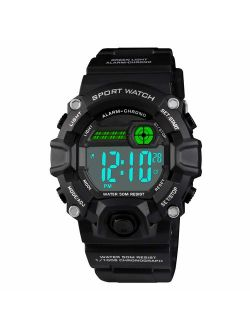Venhoo Kids Watches Digital Outdoor Sport Waterproof Electrical EL-Lights Watches with Alarm Luminous Stopwatch Casual Military Child Wrist Watch Gift for Boys Girls