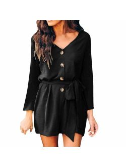 ROVLET Women's Summer Chiffon Solid Romper Casual Botton Down Loose Long Sleeve Jumpsuit Short Rompers Playsuit with Belt