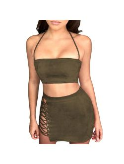 Antopmen Women Sexy Spaghetti Strap Crop Top Side Lace Up Skirt Outfit Two Piece Bodycon Bandage Dress